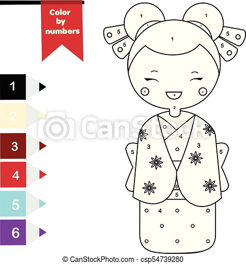Coloring Page With Japanese Girl In Kimono Color By Numbers