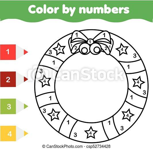 Coloring Page With Christmas Wreath Color By Numbers Printable Activity