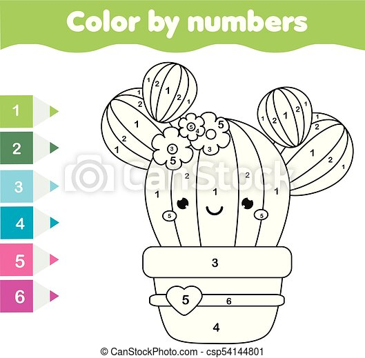 Children Educational Game Coloring Page With Cute Cactus Color By Numbers Printable Activity Worksheet For Toddlers And Canstock