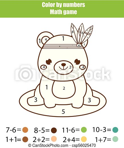 Children educational game. Mathematics actvity. Color by numbers, printable worksheet. Coloring page with cute bear - csp56025470