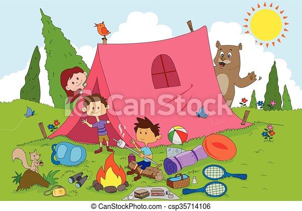 Children Enjoying Summer Camp Activities In Vector Vector Clipart