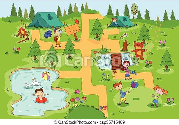 Children Enjoying Summer Camp Activities Vector