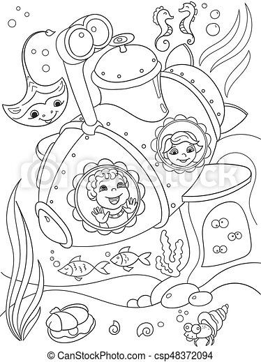 Children exploring the underwater world in a submarine coloring pages for children cartoon vector illustration - csp48372094