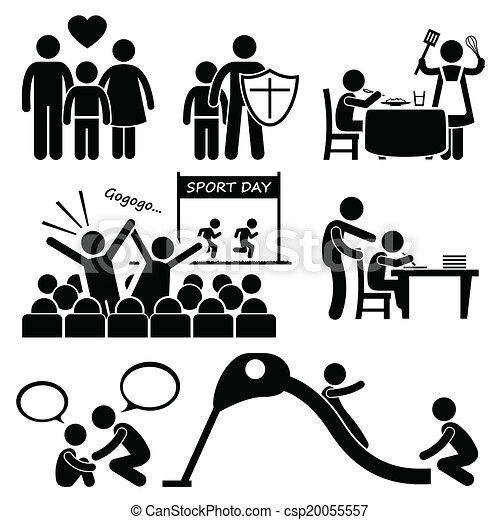children family support cliparts a set of human pictogram