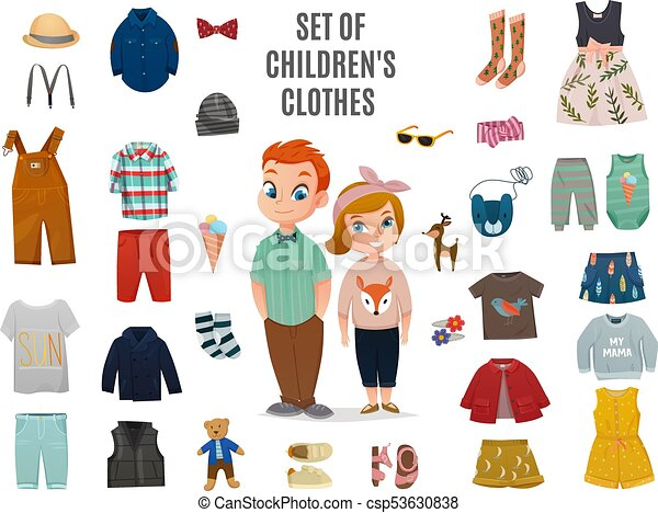Children Fashion Big Icon Set - csp53630838