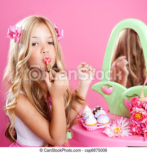 children fashion doll little girl lipstick makeup pink vanity - csp6875006