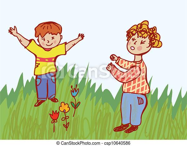 Children fighting - behavior illustration - csp10640586