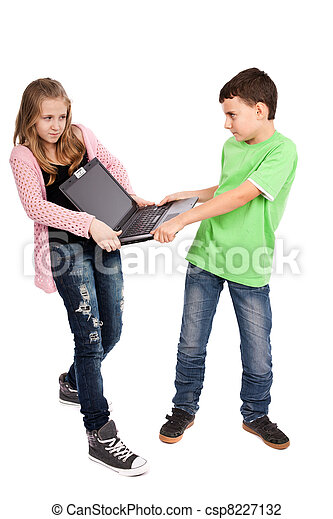 Children fighting over a laptop - csp8227132