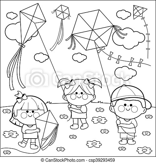 Children flying kites coloring book. Vector black and white ...