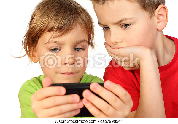 children found in telephone interesting game and they is very fascinated by it - csp7998541