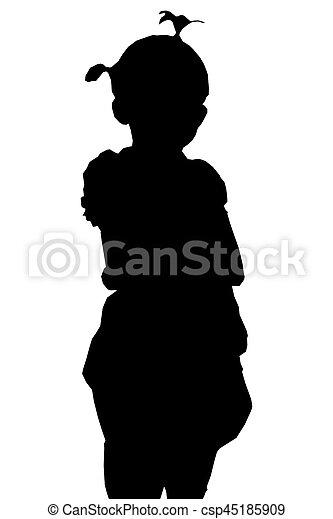 children girl Silhouette - csp45185909