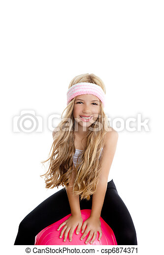 children gym yoga girl with pilates pink ball - csp6874371