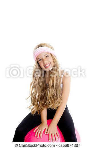 children gym yoga girl with pilates pink ball - csp6874387