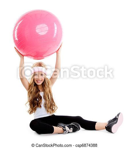 children gym yoga girl with pilates pink ball - csp6874388