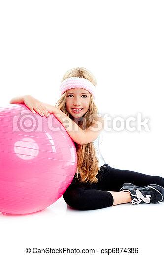 children gym yoga girl with pilates pink ball - csp6874386
