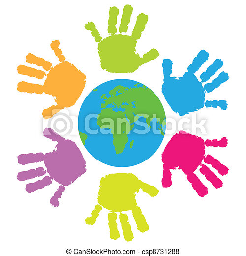 Children hand print around the Eart - csp8731288