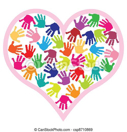 Children hand prints in the heart - csp8710869