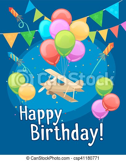 Kids Party Card Template Children Happy Birthday Card With Balloons