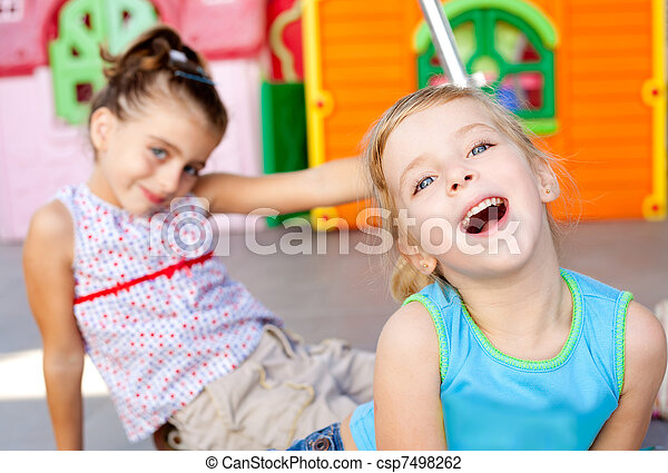 children happy little sister girls playing - csp7498262