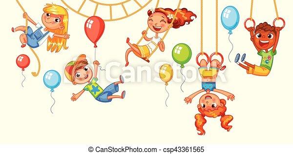 Children have fun on the rides. Amusement park. Playground - csp43361565