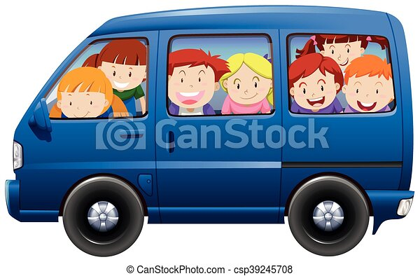 Children Having Carpool In Blue Van Illustration Vector