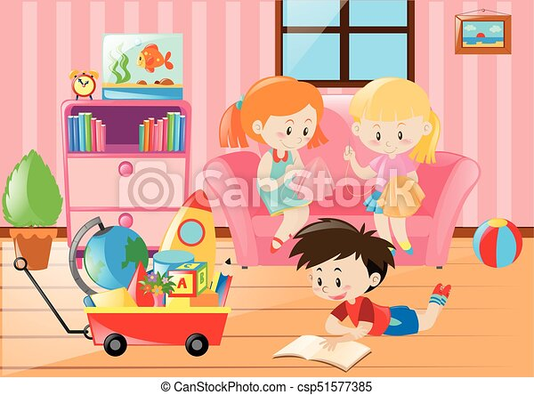 Children having fun in living room illustration vector - Search Clip ...