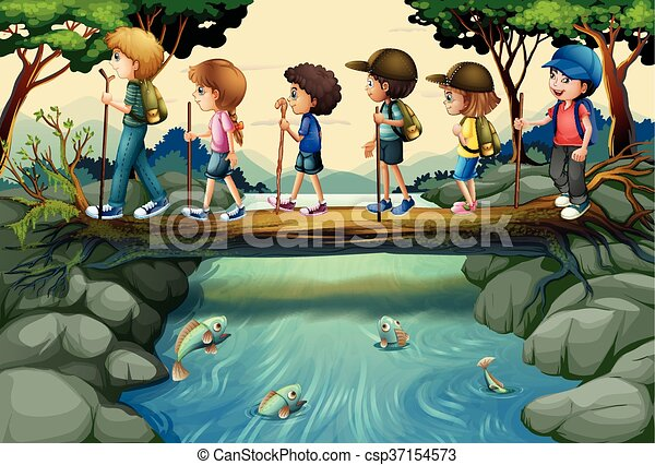 Children Hiking In The Woods Image Csp