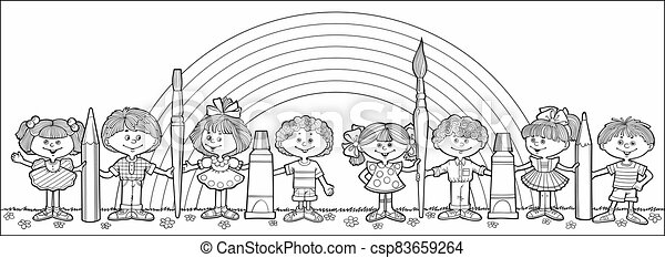 Children hold brushes and pencils - csp83659264