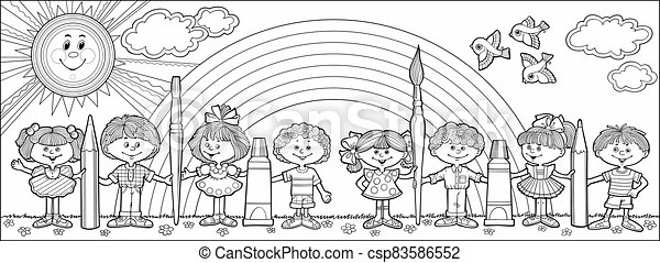 Children hold brushes and pencils - csp83586552