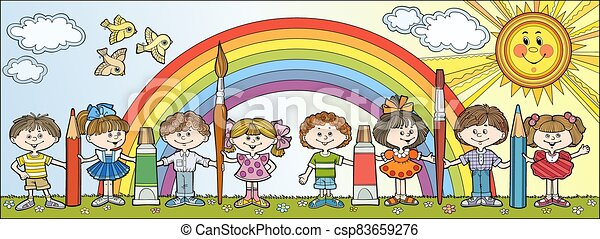 Children hold brushes and pencils - csp83659276