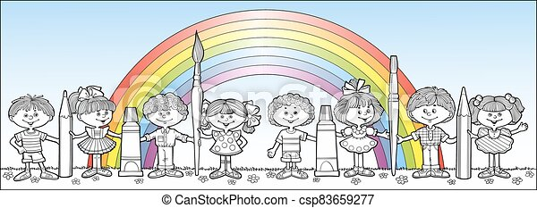Children hold brushes and pencils - csp83659277