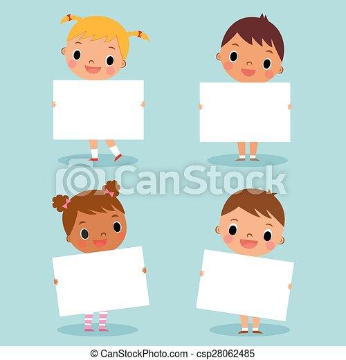 children holding blank sign - csp28062485