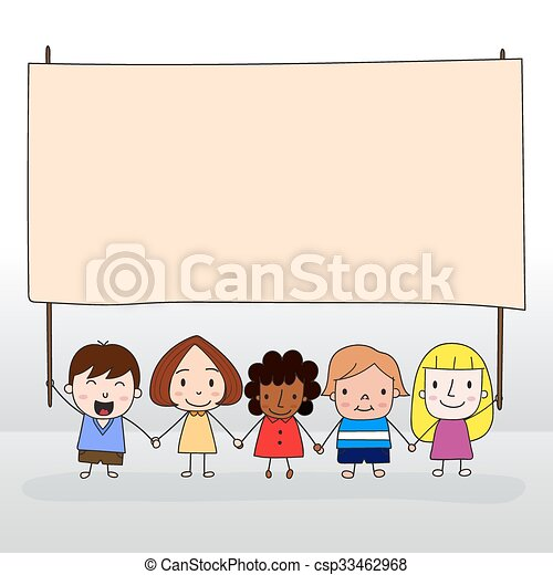 Children holding board - csp33462968