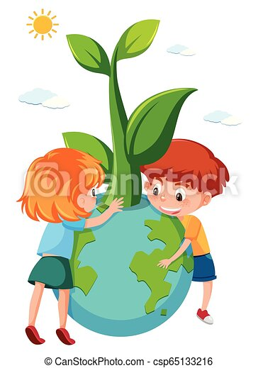 Children holding eco earth - csp65133216