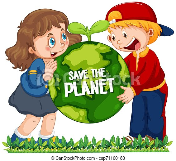 Children holding globe on white background - csp71160183