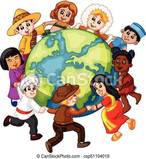 illustration of children holding hands around the world vector clip rh canstockphoto com  parent holding childrens hand clipart