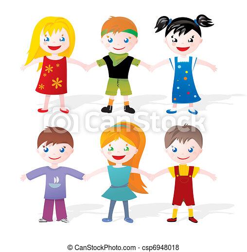 children holding hands - csp6948018