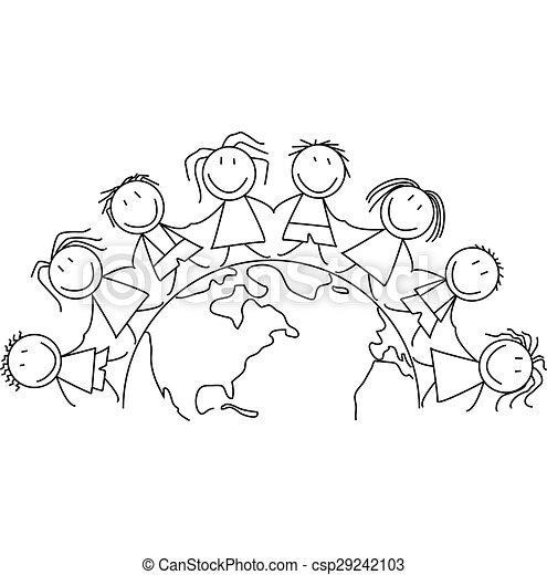 Kids Holding Hands Around The World Black And White