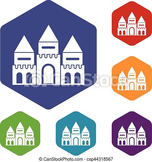 Children house castle icons set - csp44318567