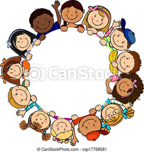 Children in Circle White Background - csp17768581