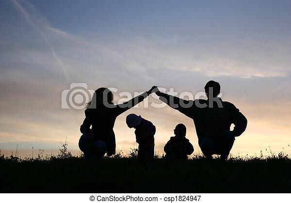 children in parents house on sky - csp1824947