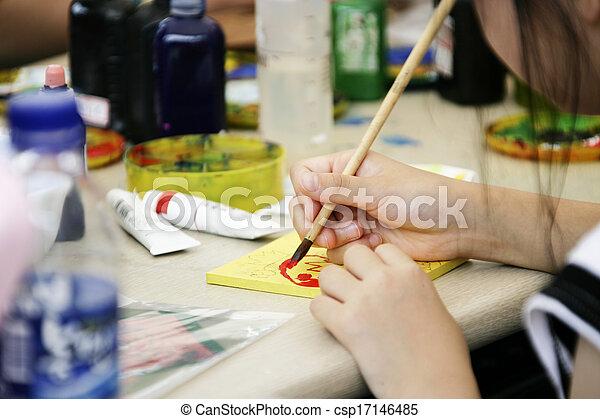 Children in South Korea, Painting - csp17146485