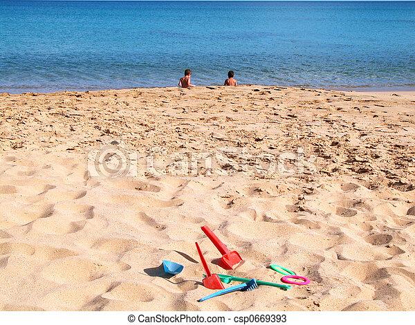 children in the beach - csp0669393