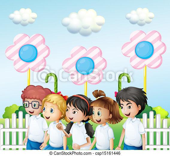 Children in the garden - csp15161446