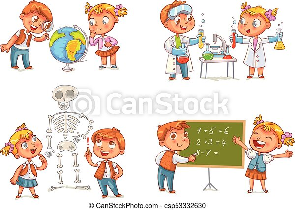 Children in the lesson of geography, chemistry, mathematics and biology - csp53332630