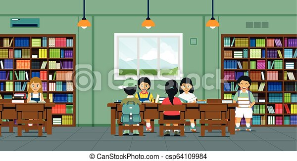 Children in the library - csp64109984