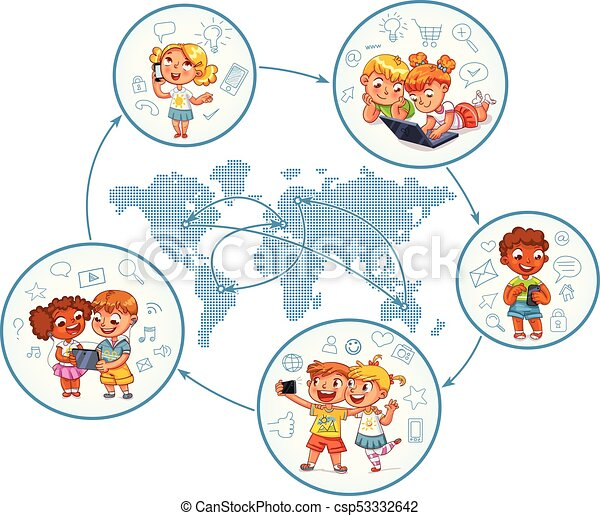 Children interact with each other on social networks around the world - csp53332642
