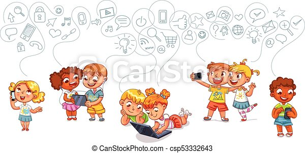 Children interact with each other on social networks - csp53332643