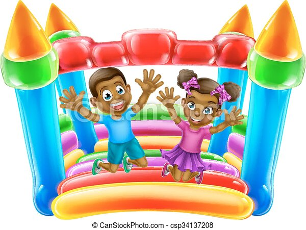 Children Jumping on Bouncy Castle - csp34137208