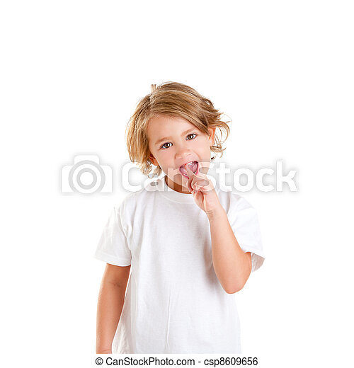 children kid with tooth ache and finger in pain teeth - csp8609656